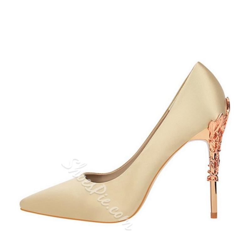 Plain Sequin Stiletto Heel Pumps