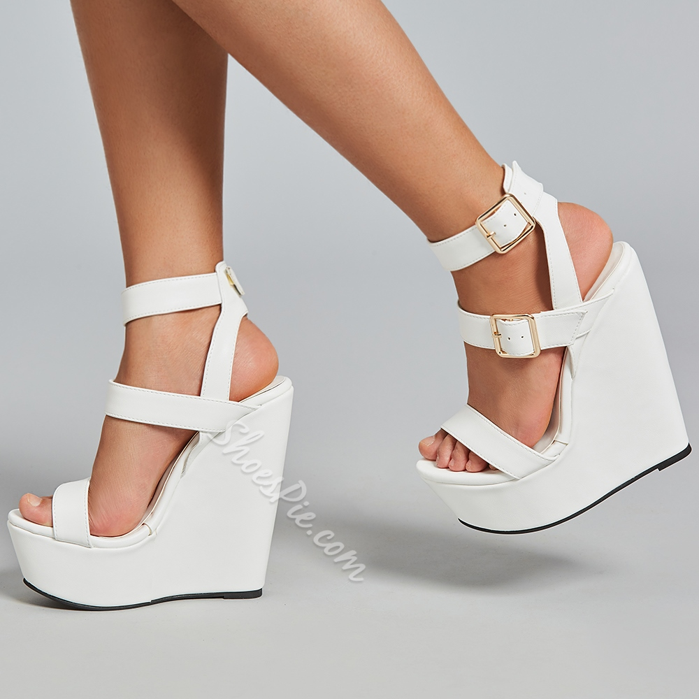 White Wedge Heel Shoes
