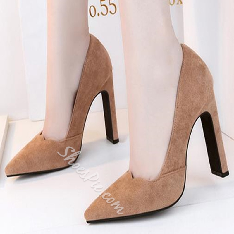 Solid Color Slip On Chunky Heels