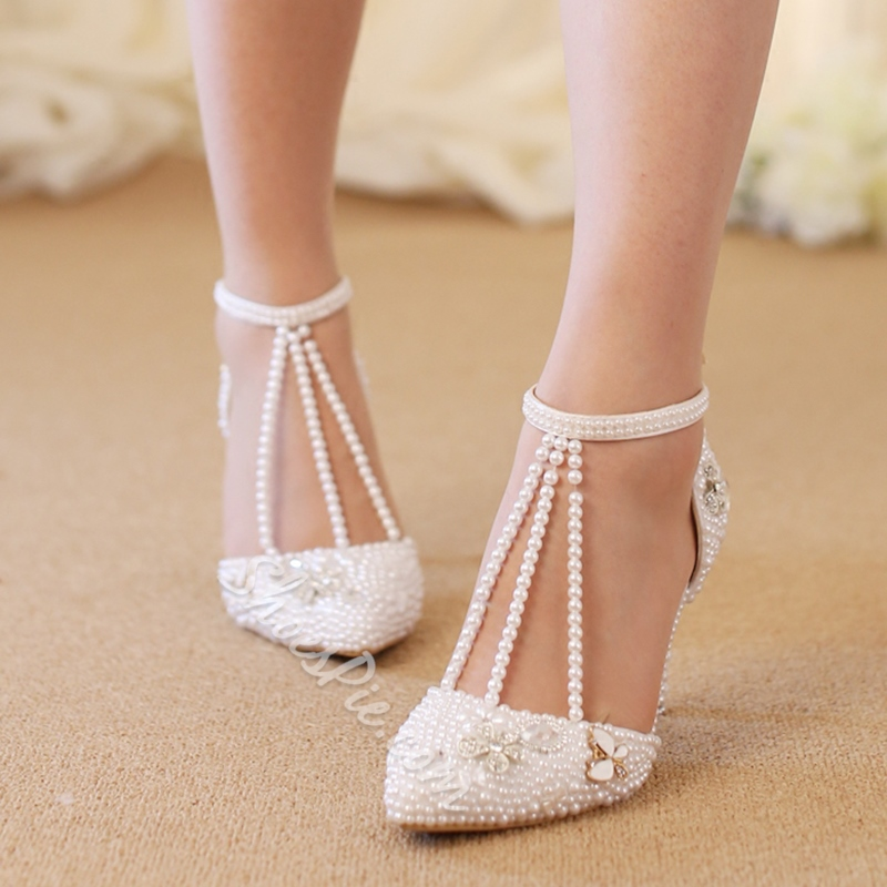 T-Shaped Buckle Stiletto Heel Wedding Shoes