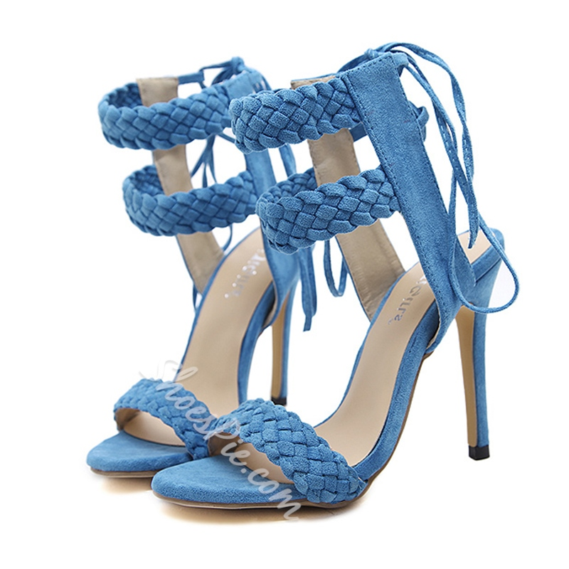 Summer Lace-Up Stiletto Heel Ankle Strap Dress Sandals