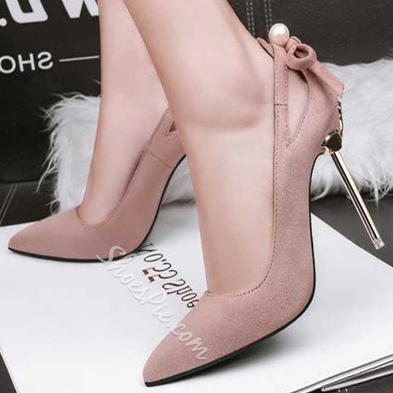 Bow Beads Plain Stiletto Heels