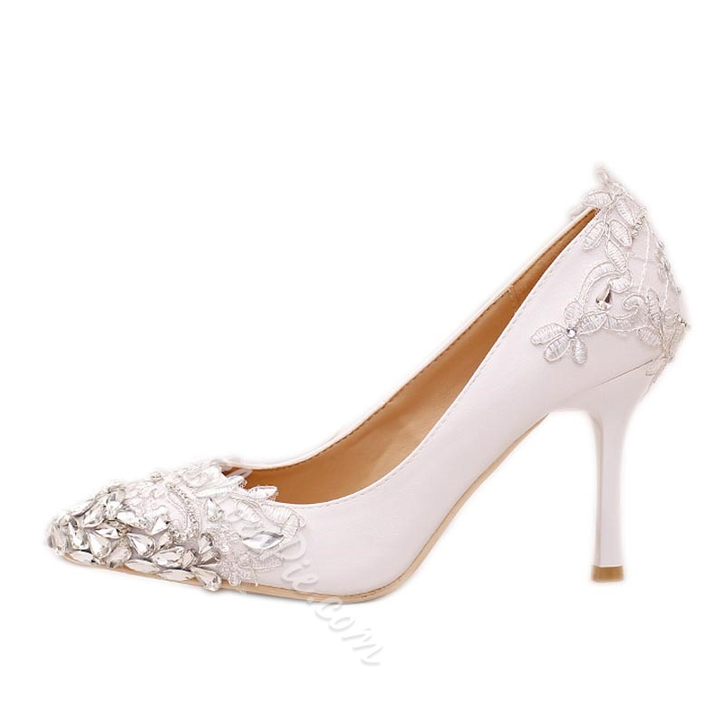 White Slip On Stiletto Heel Wedding Shoes