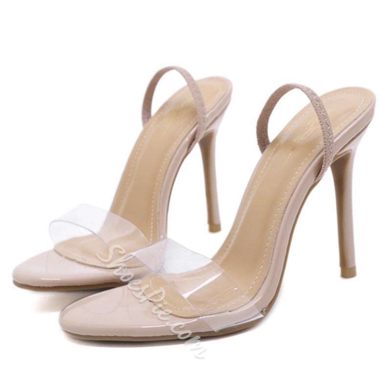 Simple Stiletto Heel Slip-On Slingback Strap Dress Sandals