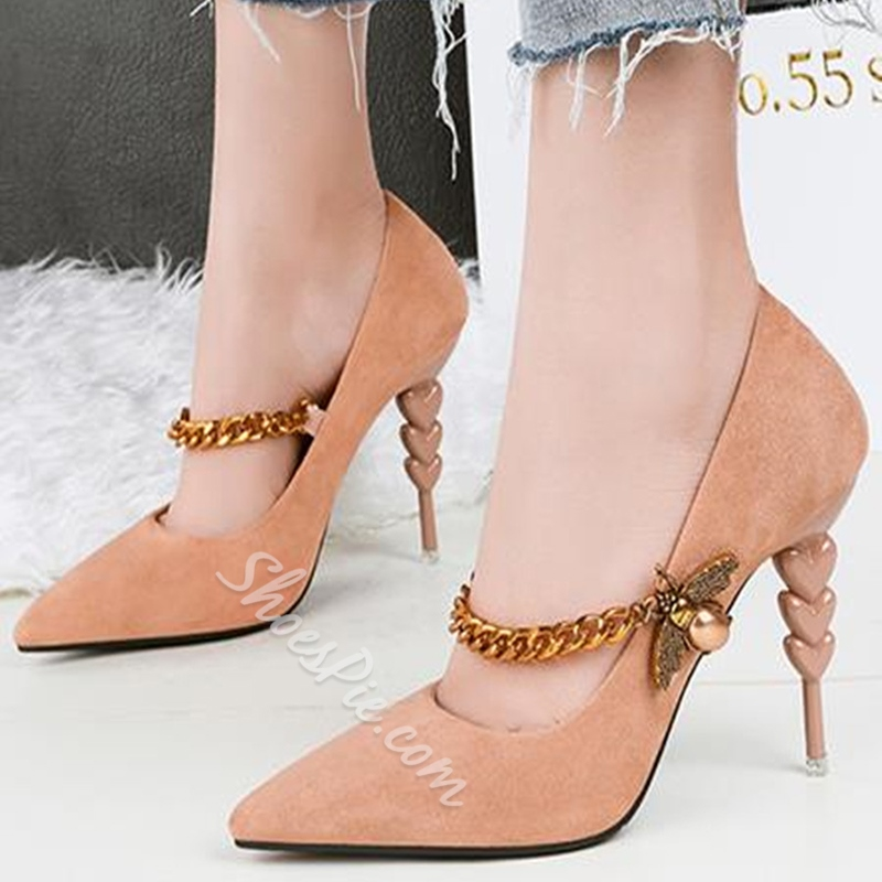 Chain Plain Pointed Toe Stiletto Heels