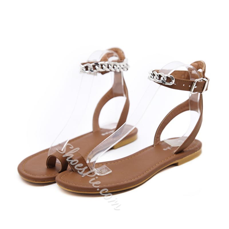 Summer Toe Ring Ankle Strap Flat Sandals