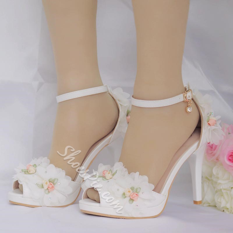 Floral Peep Toe Stiletto Heel Wedding Shoes