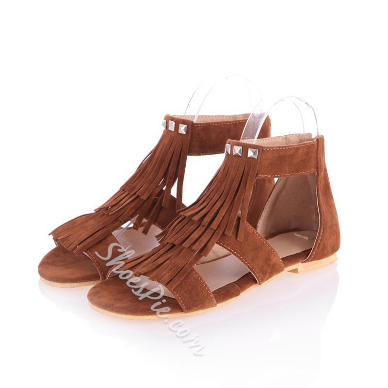 Summer Rivet Fringe Flat Sandals