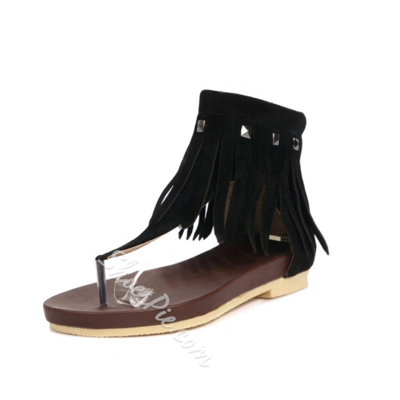 Casual Rivet Fringe Summer Flat Sandals