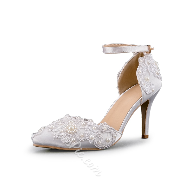 White Beads Line Style Buckle Wedding Shoes