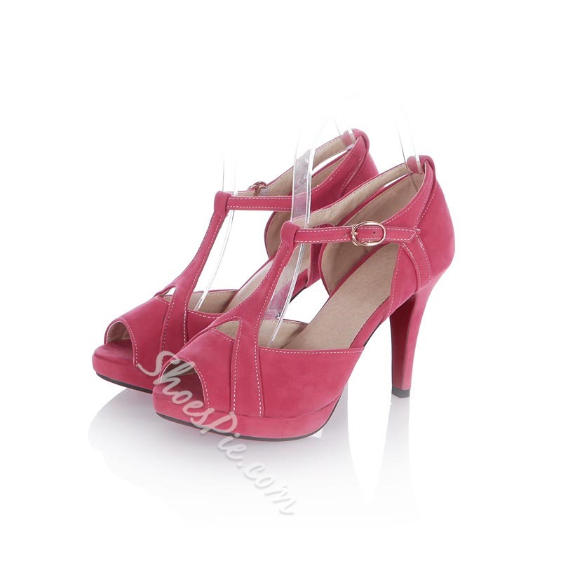 T-Shaped Buckle Peep Toe Stiletto Heels
