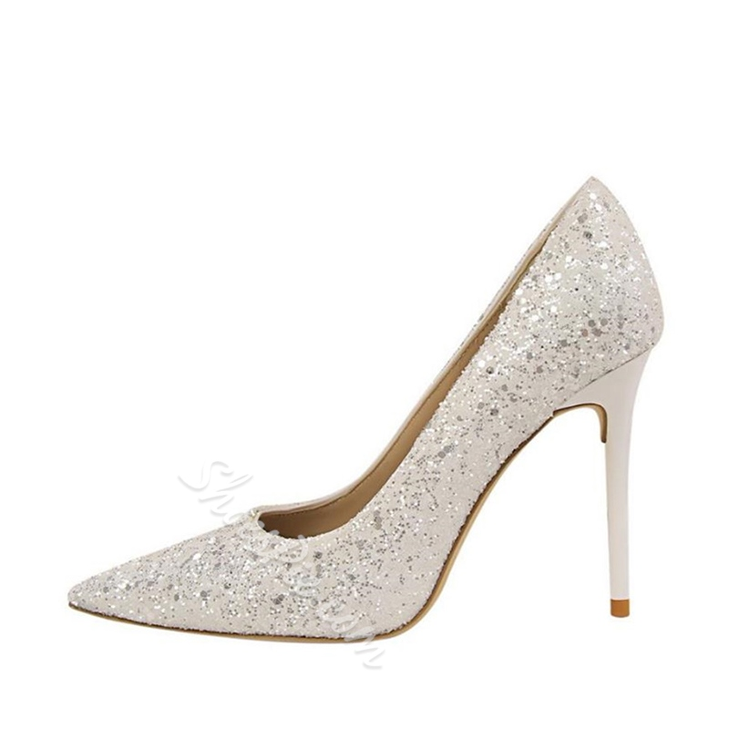 Sequin Slip On Stiletto Heel Pumps