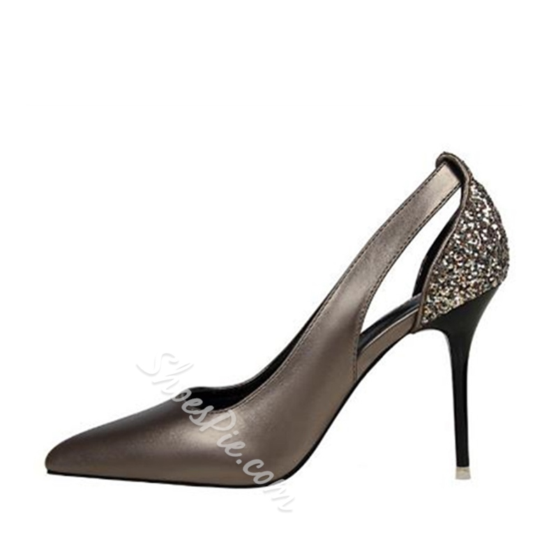 Sequin Plain Hollow Stiletto Heels
