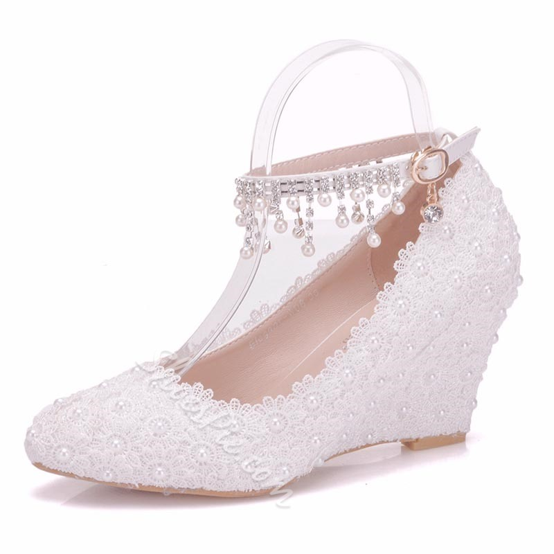 White Fringe Wedge Heel Wedding Shoes