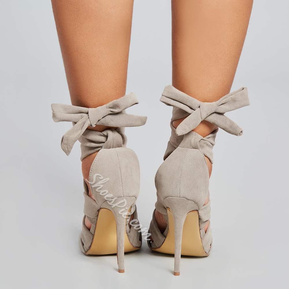 Shoespie Gray Bandage Lace-Up Heel Sandals