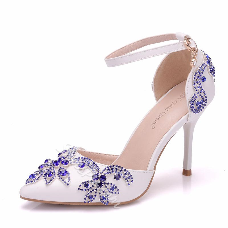 Shoespie Line-Style Buckle Stiletto Heel Pointed Toe Wedding Bridal Shoes