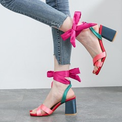 Silk Fabric Bow Lace-Up Chunky Heel Dress Sandals
