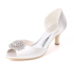 Rhinestone Slip-On Peep Toe Low Heel Wedding Shoes