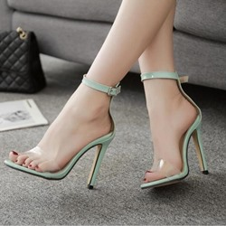 Summer Light Green Stiletto Heel Dress Sandals