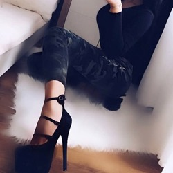 Black Line Style Buckle Platform Stiletto Heels