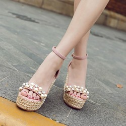 Rhinestone Bead Line-Style Buckle Sexy Wedges