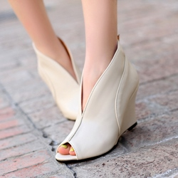 Peep Toe Slip On Wedge Heels
