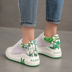 Mesh Floral Lace Up Women's Shoes