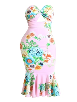 Floral Print Hollow Sleeveless Bodycon Dresses