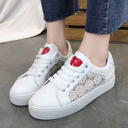 Lace Heart Round Toe Women's Sneakers