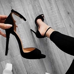 Black Peep Toe Stiletto Heel Sandals