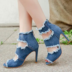 Denim Worn Zipper Peep Toe Stiletto Heels