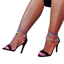 Open Toe Fringe Stiletto Heel Sandals