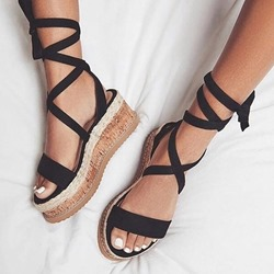 Black Plain Open Toe Lace-Up Platform Sandals