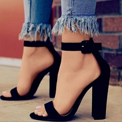 Black Open Toe Line-Style Buckle Sandals