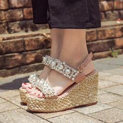 Rhinestone Beads Platform Wedge Heel Sandals