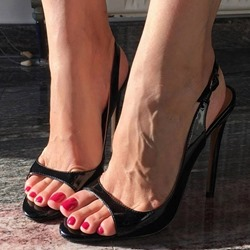 Black Slingback strap Buckle Stiletto Heel Sandals