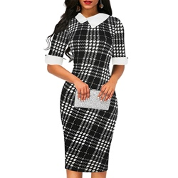 Half Sleeve Patchwork Plaid Women's Bodycon Dress