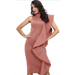 Stand Collar Cap Sleeve Falbala Bodycon Dresses