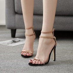 Summer Line-Style Buckle Stiletto Heel Dress Sandals
