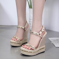 Summer Rivet Platform Wedge Heel Sandals