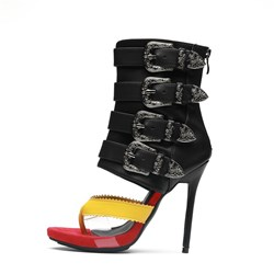 Fashion High Shaft Stiletto Heels Color Block Dress Sandals