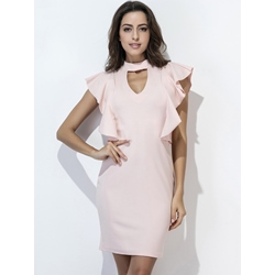 Stand Collar Cap Sleeve Falbala Hollow Bodycon Dresses