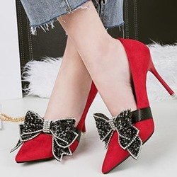 Bow Rhinestone Slip On Stiletto Heels