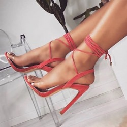 Pink Open Toe Lace-Up Stiletto Heel Sandals