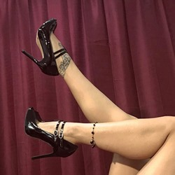 Black Line Style Buckle Stiletto Heels