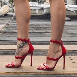 Red Open Toe Stiletto Heel Sandals