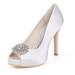 Rhinestone Peep Toe Slip-On Stiletto Wedding Shoues
