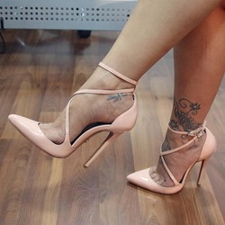 Pink Ankle Strap Pointed Toe Stiletto Heels