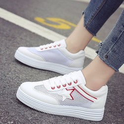 Star White Casual Lace-Up Women's Sneakers