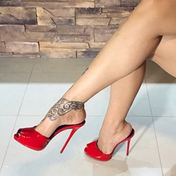Shoespie Sexy Platform Slip-On Red Stiletto Heels Mules Sandals